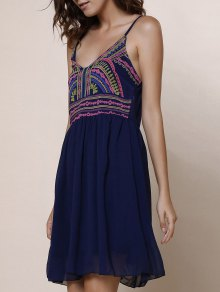 Spaghetti Strap Color Block Print Dress - Purplish Blue