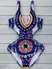 Geometric Print Plunging Neck Cut Out One-Piece Swimwear - Purplish Blue