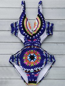 Buy Geo Print Plunging Neck One Piece Swimwear - PURPLISH BLUE M