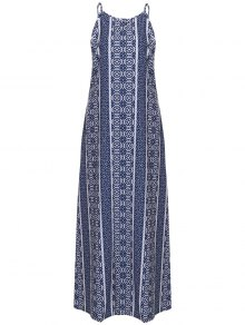 Spaghetti Strap Sleeveless Print Maxi Dress - Blue And White