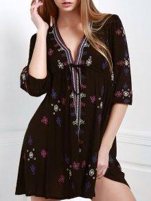 Embroidered Drawstring Design Mini Dress - Black