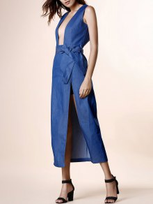 Haute Slit Plongeant Neck Manches Denim Dress - Bleu
