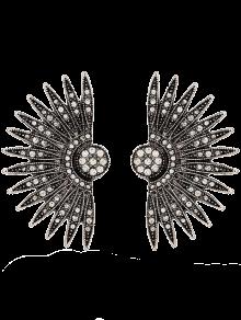 Alloy Rhinestone Fan-Shaped Drop Earrings