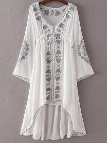 High-Low Hem V-Neck Long Sleeve Embroidery Dress - White