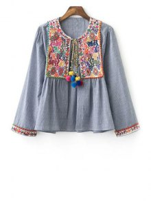 Ethnic Embroidery Round Neck Long Sleeve Coat - Gray