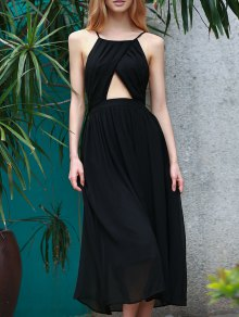 Lace-Up Backless Chiffon Party Dress - Black
