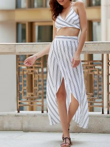 Striped Spaghetti Straps Backless Crop Top - White S