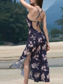 High Slit Spaghetti Straps Backless Printed Maxi Dress