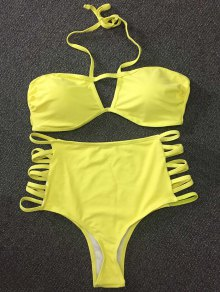 Cut Out High Rise Yellow Bikini Set