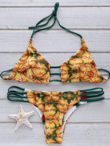 Pineapple Print String Padded Bikini Set