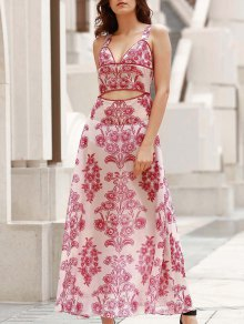 Waist Cutout Maxi Beach Dress - Red With White L