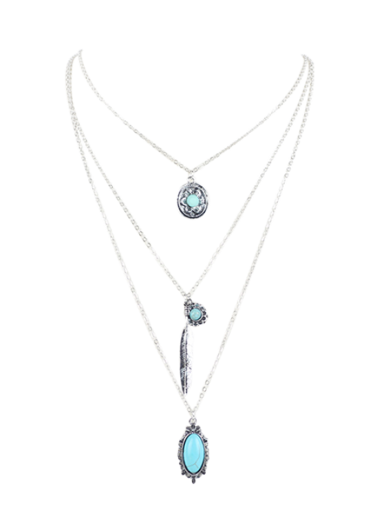 best Bohemian Layered Pendant Necklace - SILVER