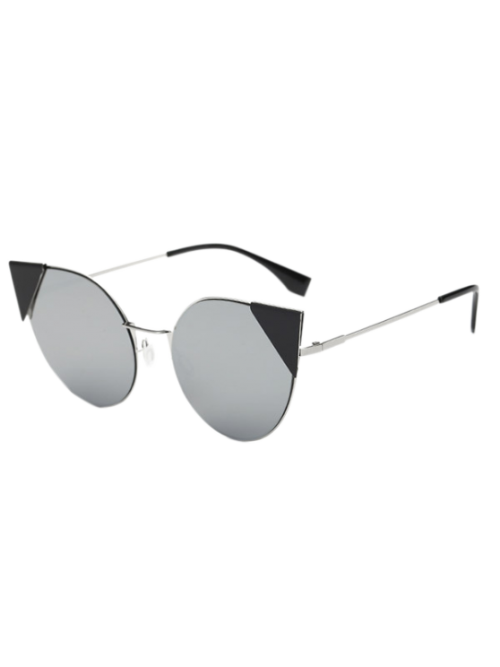 Triangle Insert Cat Eye Mirrored Sunglasses - SILVER  Mobile