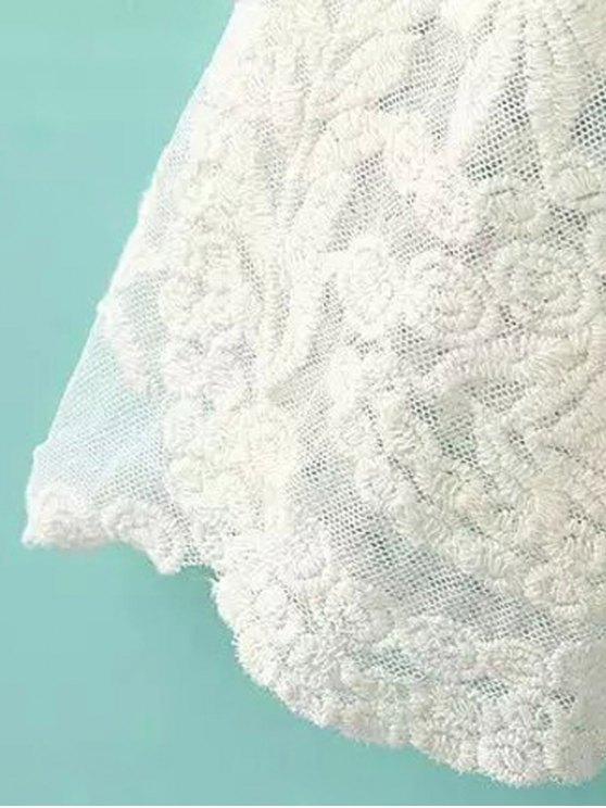 See-Through Leaves Pattern Lace Blouse - OFF-WHITE ONE SIZE(FIT SIZE XS TO M) Mobile
