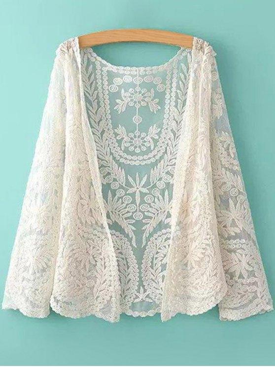 Blouse transparente sans col en dentelle florale à manches longues pour femmes - Blanc Cassé Taille Unique(S'adap