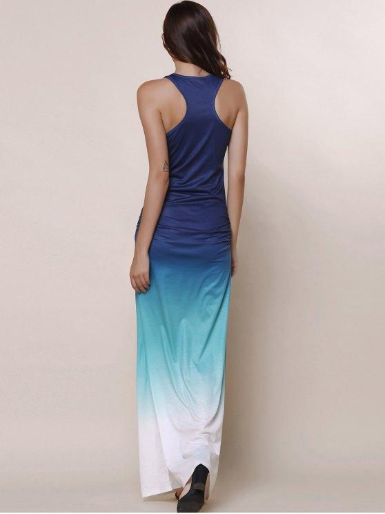 Ombre Color Scoop Neck Maxi Sundress - BLUE L Mobile