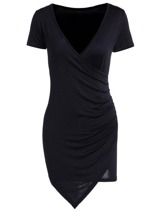 lady Solid Color Short Sleeve Bodycon Dress - BLACK 2XL