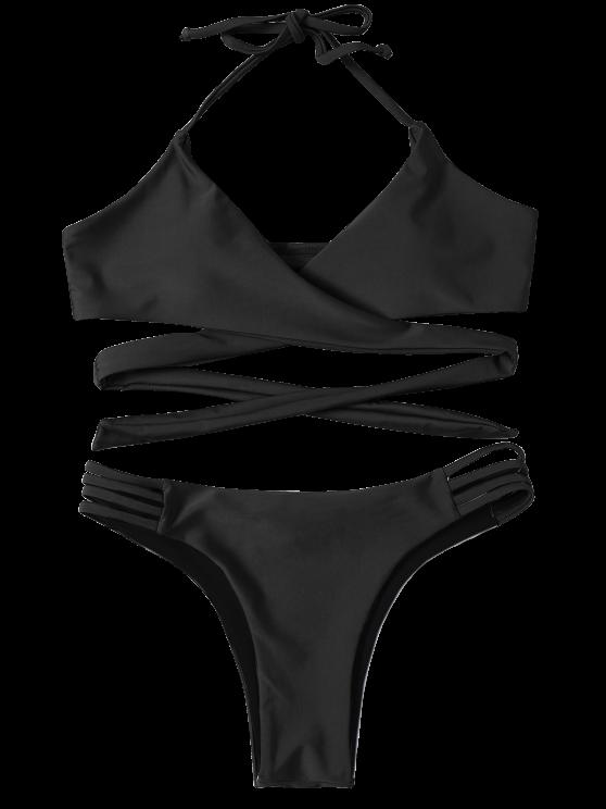 Strappy Halter Wrap Bikini Set - BLACK S Mobile