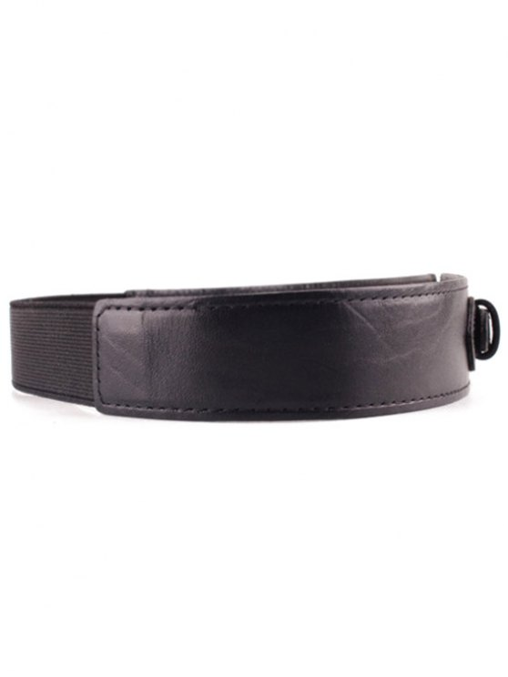 Double Buckle Elastic Waistband - BLACK  Mobile