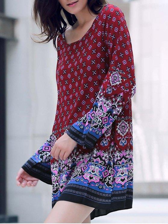 Vestido de campesino Impreso de manga larga - Rojo M