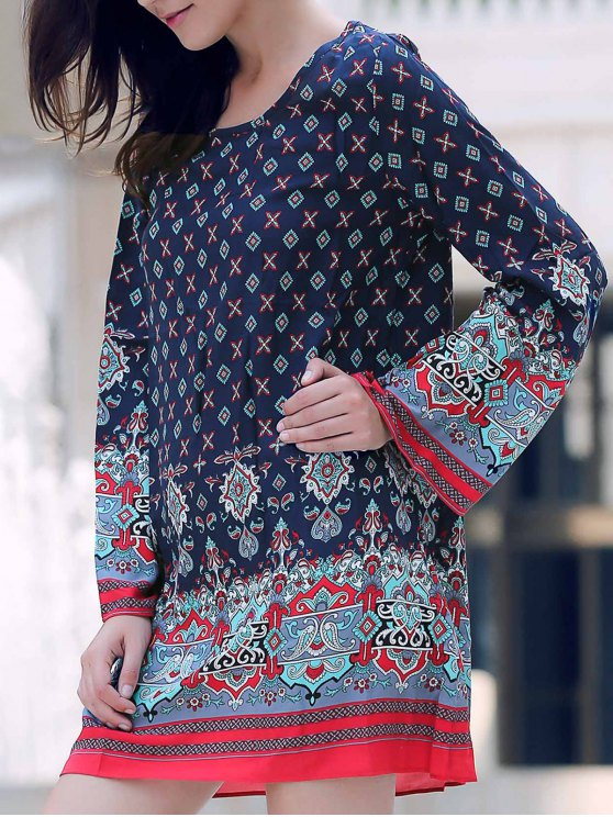 fancy Long Sleeve Printed Peasant Dress - PURPLISH BLUE S