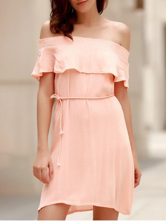 online Off-The-Shoulder Belted Pink Dress - LIGHT PINK S