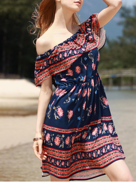 Retro Floral Print Sleeveless Off The Shoulder Dress - PURPLISH BLUE L Mobile