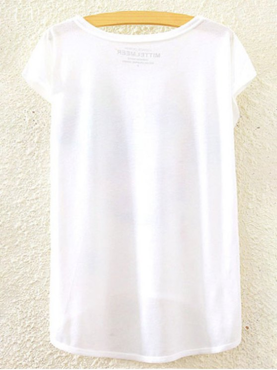 Printed Round Collar Short Sleeve Loose Fitting T-Shirt - WHITE ONE SIZE(FIT SIZE XS TO M) Mobile