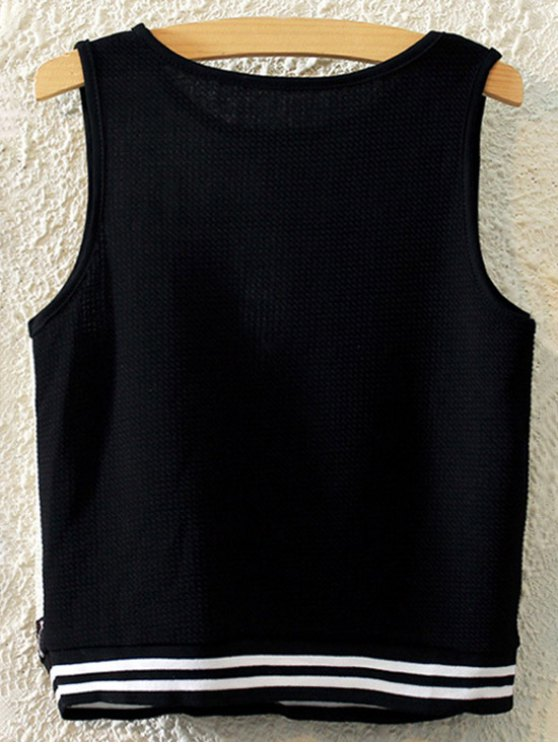 Printed Round Collar Tank Top - BLACK ONE SIZE(FIT SIZE XS TO M) Mobile