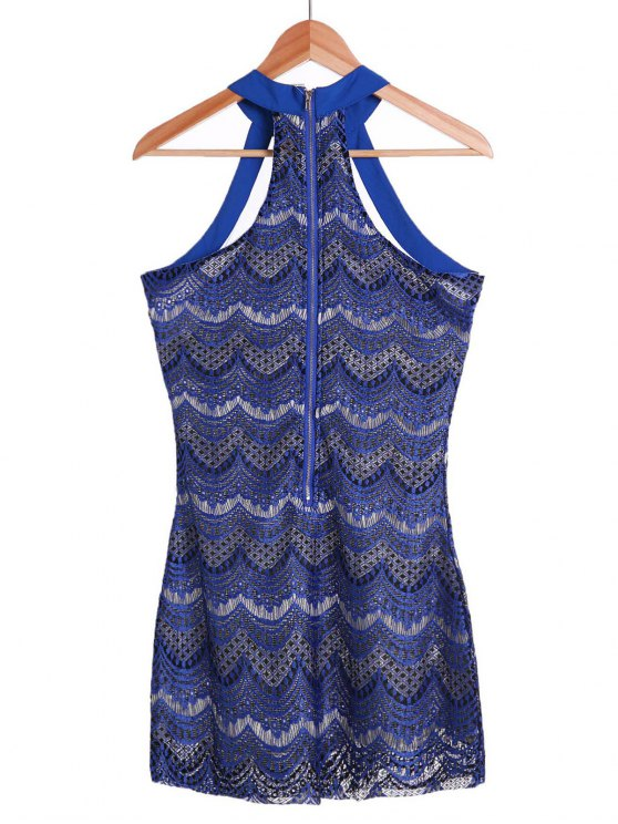 Bodycon Scalloped Lace Dress - SAPPHIRE BLUE M Mobile