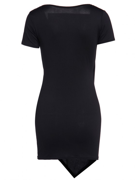 Solid Color Short Sleeve Bodycon Dress - BLACK S Mobile