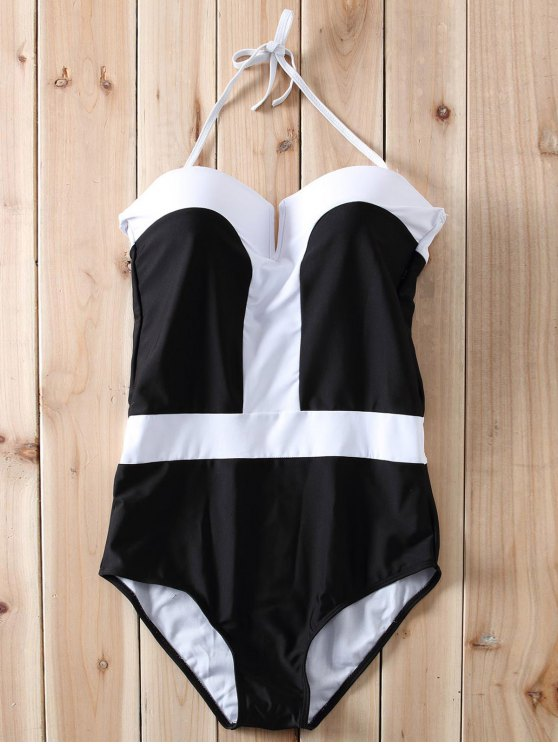Color Block Bandeau One Piece Swimwear - Blanco y Negro L