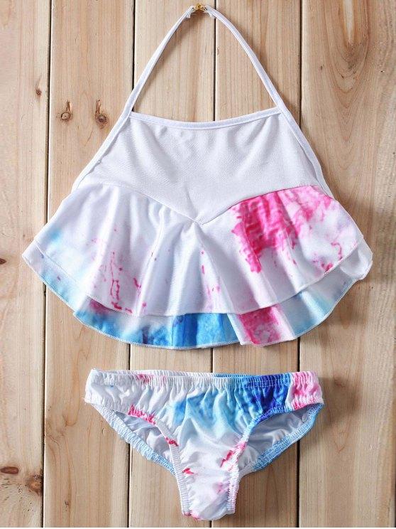 fancy Halter Ruffles Tie Dye Bikini - WHITE XL
