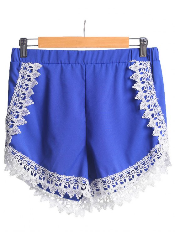 Lace Spliced Elastic Waist Shorts - BLUE XL Mobile