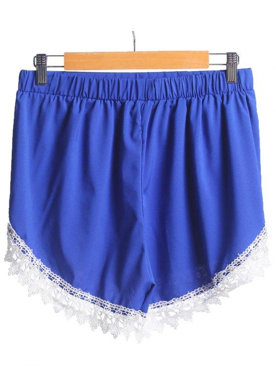 Lace Spliced Elastic Waist Shorts - BLUE XL Mobile