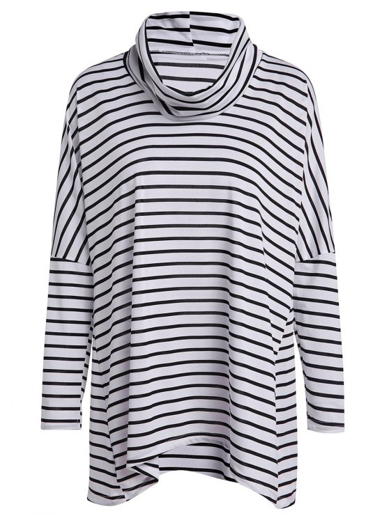 trendy Long Sleeve Striped Loose T-Shirt - WHITE AND BLACK M