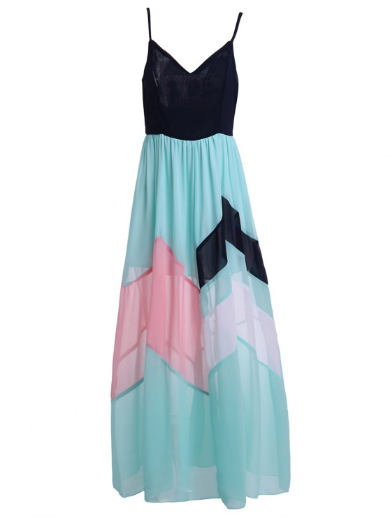 Color Block High Waisted Maxi Slip Beach Dress - BLUE AND BLACK L Mobile