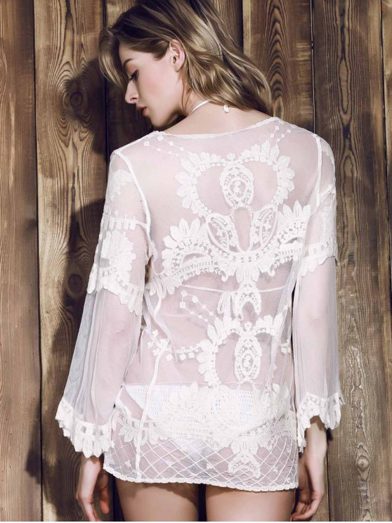 Long Sleeve Sheer Lace Cover Up - OFF-WHITE ONE SIZE(FIT SIZE XS TO M) Mobile
