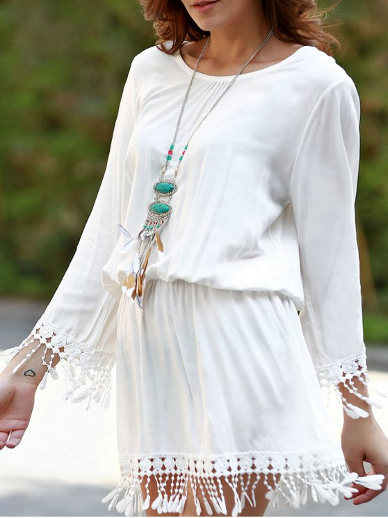Beach Blouson Dress Cover Up - WHITE ONE SIZE(FIT SIZE XS TO M) Mobile