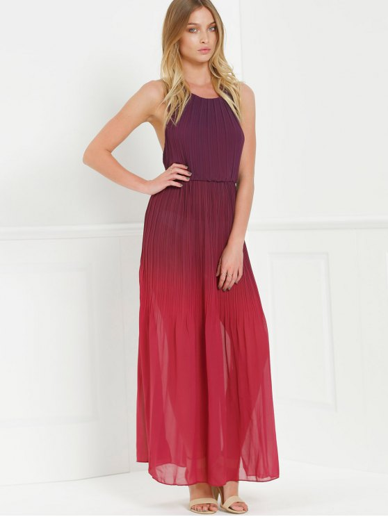 Halter Ombre Color High Slit Maxi Dress - RED L Mobile