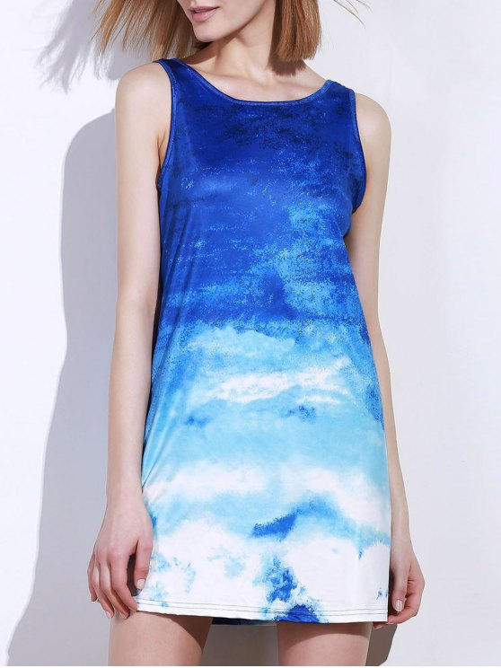 Ombre Print Sleeveless Dress - BLUE AND WHITE M Mobile