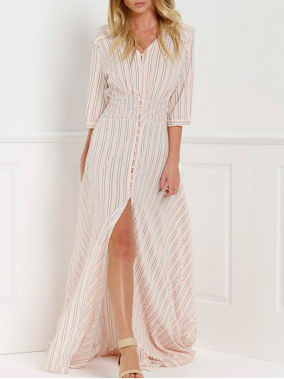 Button Front Stripe 3/4 Sleeve Maxi Dress - PINK M Mobile