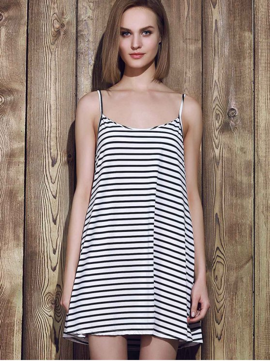 Spaghetti Strap A Line Stripe Dress - BLUE AND WHITE S Mobile