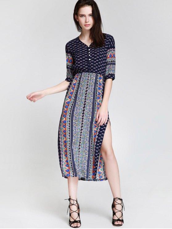 Tea Length Printed Side Slit Dress - BLUE XL Mobile