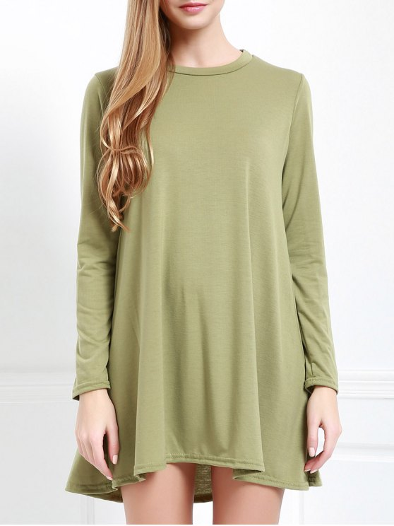 Long Sleeve Open Back Swing Dress - Verde del ejército XL