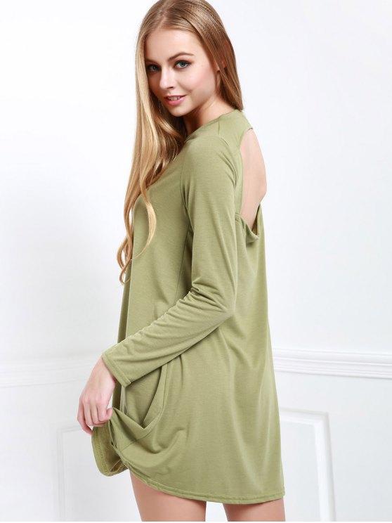 Long Sleeve Open Back Swing Dress - ARMY GREEN XL Mobile