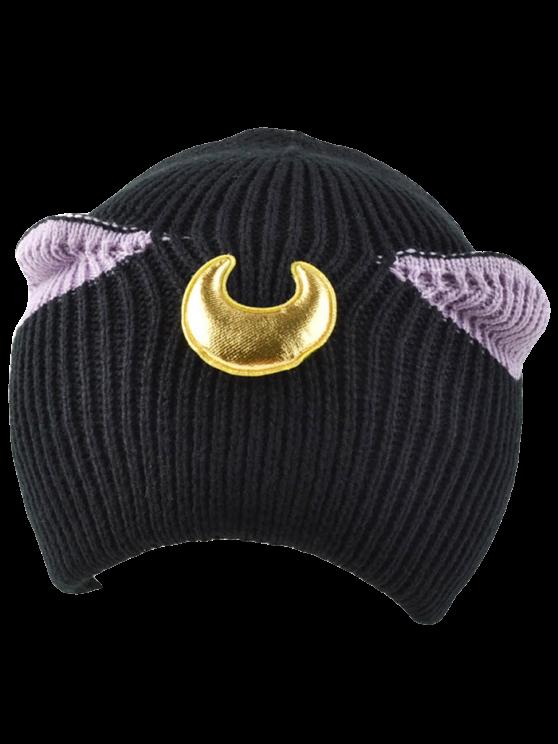fancy Moon Knit Cat Ear Hat - BLACK