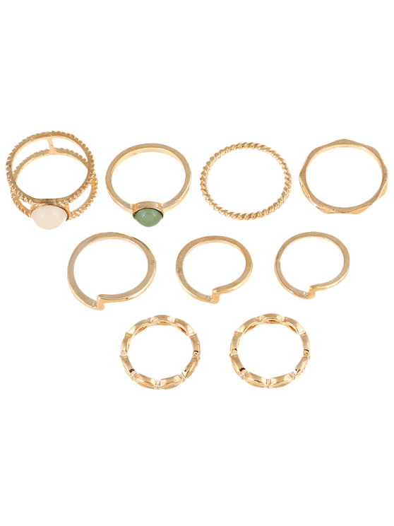 9 PCS Gold Plated Fake Gemstone Rings - GOLDEN  Mobile