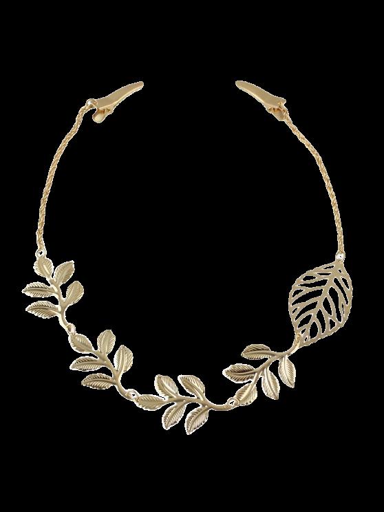 Embellished Leaf Hair Accessory - GOLDEN  Mobile