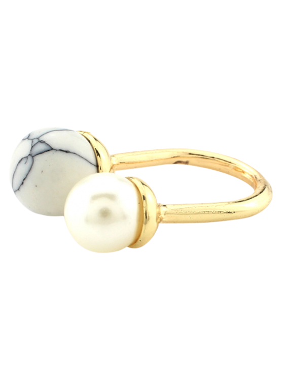 Faux Pearl Bead Ring - WHITE  Mobile
